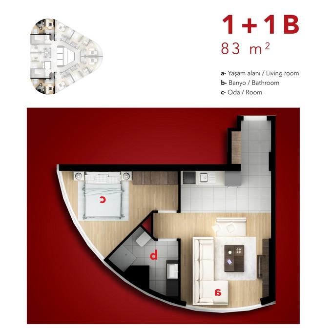 1 Bedroom Corner Apartment. Type B1