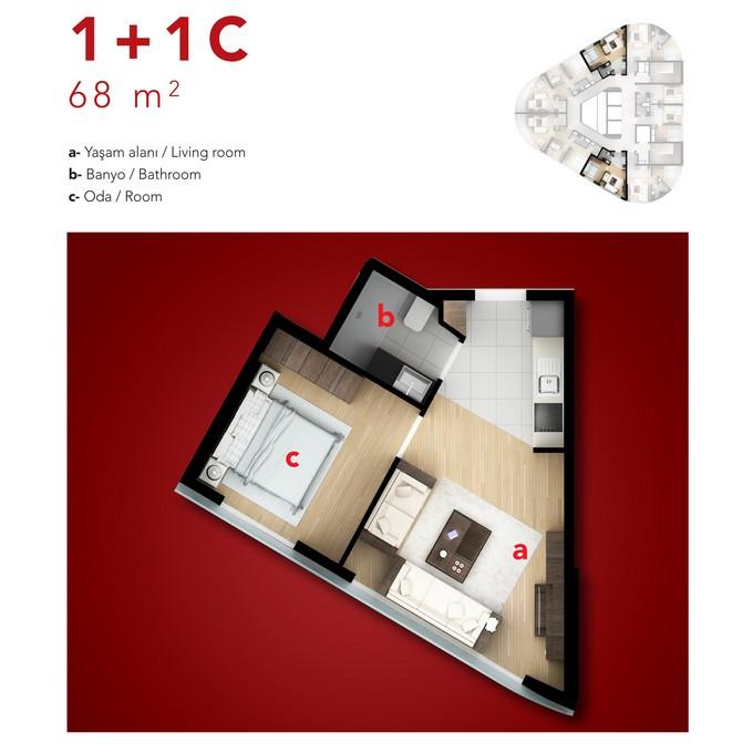 1 Bedroom Corner Apartment. Type C