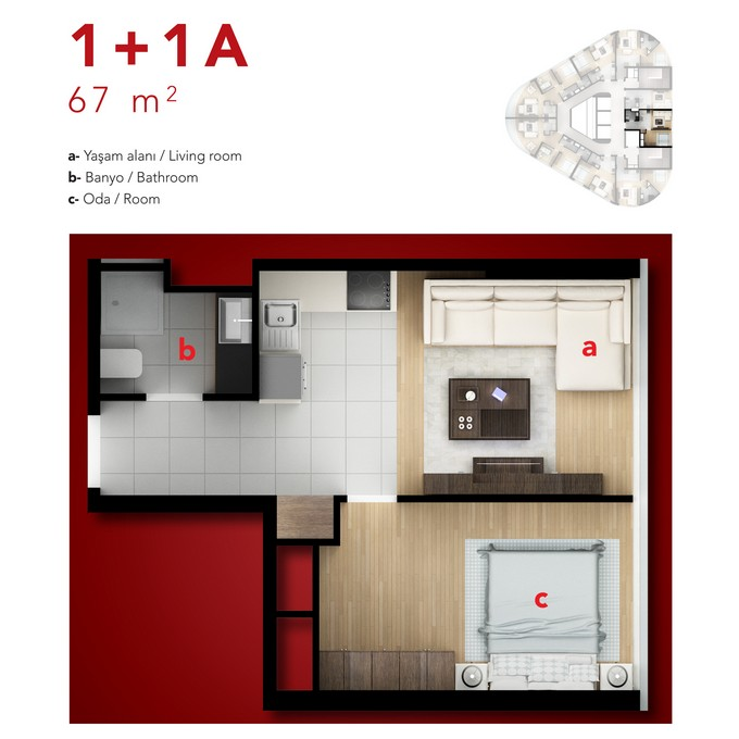 1 Bedroom. Side A.