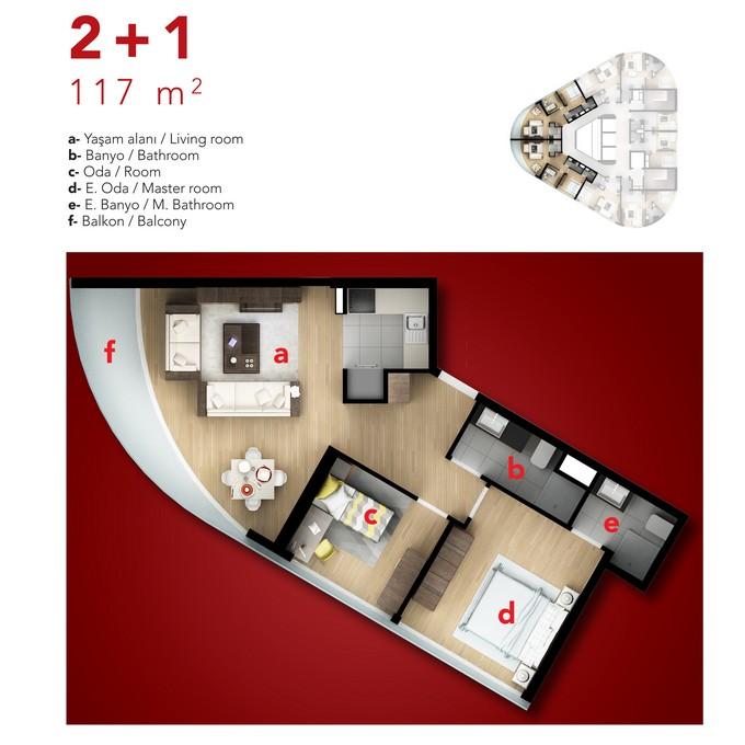 2 Bedroom Corner Apartment.
